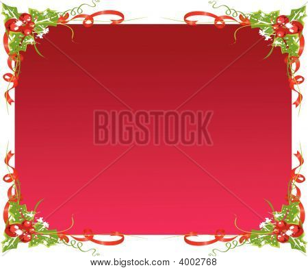 Christmas Frame With Holly Decoration
