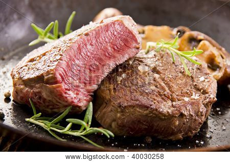 beef steak in the pan