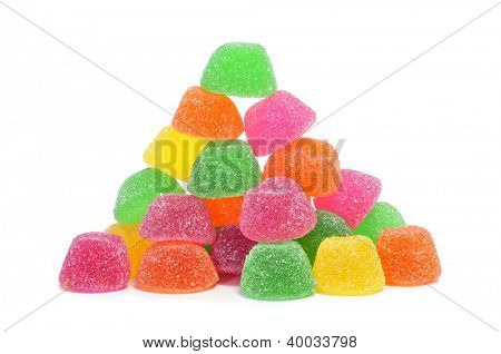 gumdrops of different colors on a white background