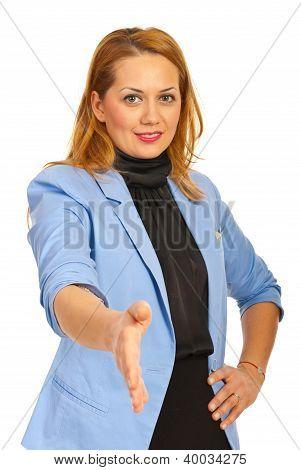 Business Woman Giving Hand Shake