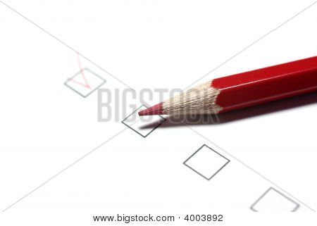 Red Pencil And Checkboxes Isolated On White Background.