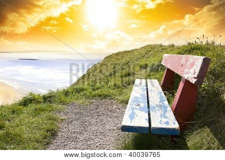 View Of Beach And Atlantic Ocean In Ballybunion With Bench