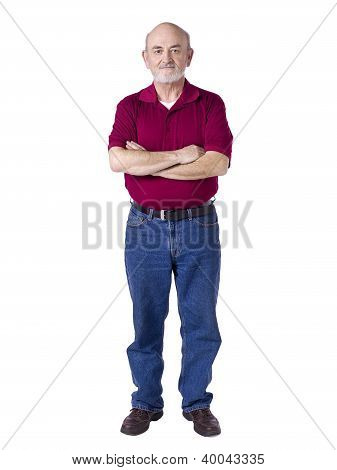 Old Man Standing While Arms Cross