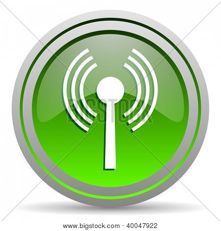 wifi green glossy icon on white background