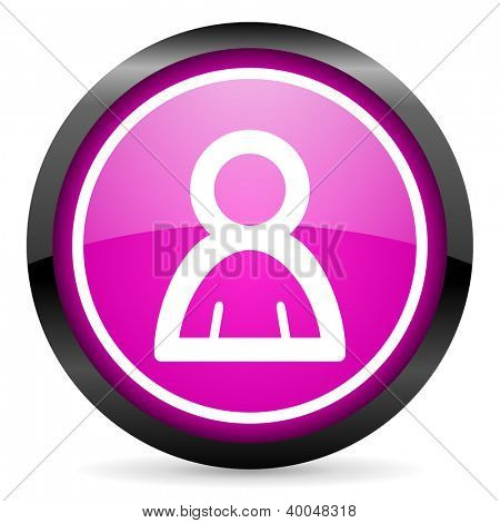 account violet glossy icon on white background