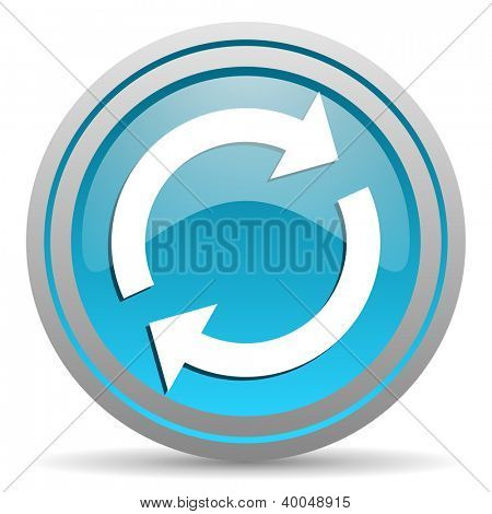 reload blue glossy icon on white background