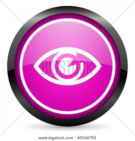 eye violet glossy icon on white background