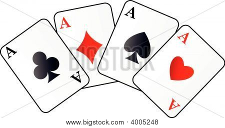 Four Aces On White