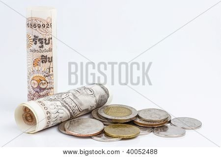 Roll of thai banknotes