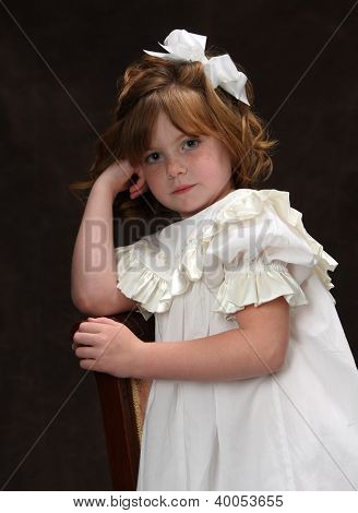 Classic Antiquated Portrait Of Young Girl