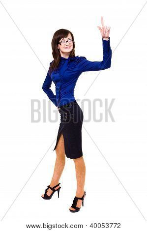 Smiling Young  Business Woman Pointing At Copy Space