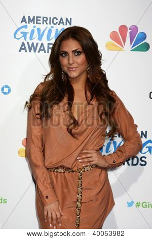 LOS ANGELES - DEC 7:  Cassie Scerbo arrives to the 2012 American Giving Awards at Pasadena Civic Center on December 7, 2012 in Pasadena, CA