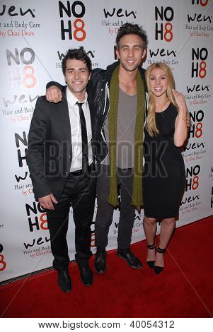 LOS ANGELES - DEC 12:  Freddie Smith, Blake Berris, Kristen Alderson arrive to the NOH8 4th Anniversary Party at Avalon on December 12, 2012 in Los Angeles, CA
