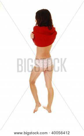 Girl Taking Of Sweater.