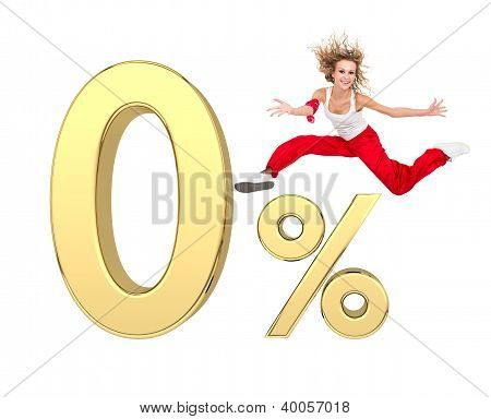 Girl Jumping Above Gold 3D Zero Percent Sign