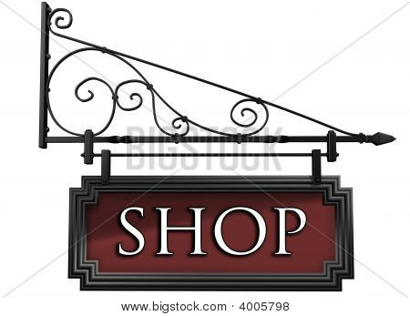 Isolated Shop Sign