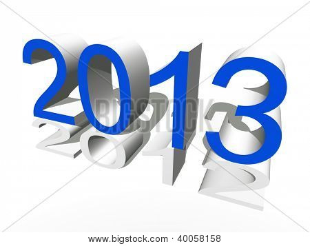 High resolution concept or conceptual 3D blue 2013 year isolated on white background as metaphor to holiday,symbol,Christmas,calendar,happy,eve,December,January,time,season,new year or winter graphic