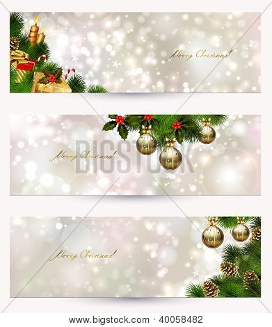 set of three light Christmas banners with vitality cones, fir tree and balls