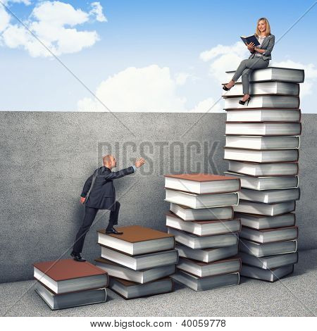 business people on 3d books piles