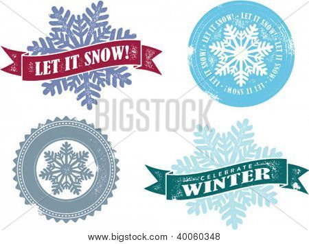 Let it Snow Vintage Winter Holiday Stamps