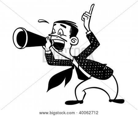 Announcer With Megaphone - Retro Clipart Illustration