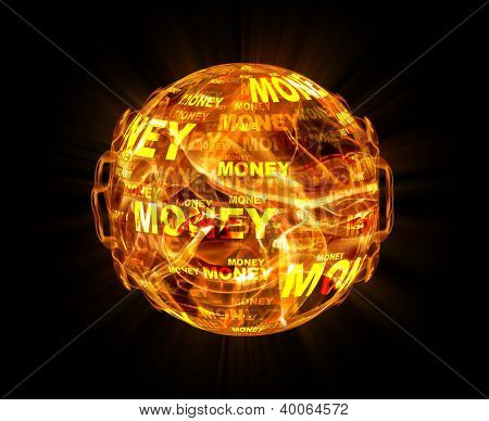 fire ball with money texture