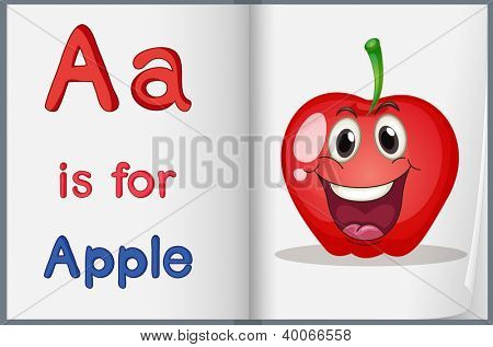 Illustration of the letter A in a book
