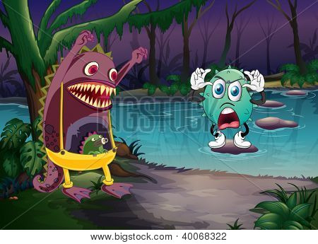 illustration of monsters and a river in a beautiful nature