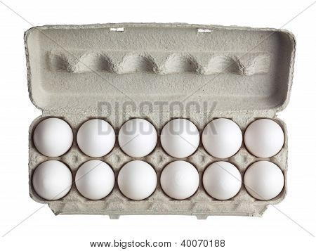 Dozen Of Eggs In Carton Box