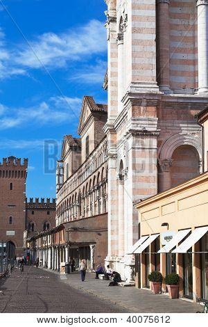 Panoramic View Of Piazza Trento E Trieste, Town Hall And Cathedral In Ferrara