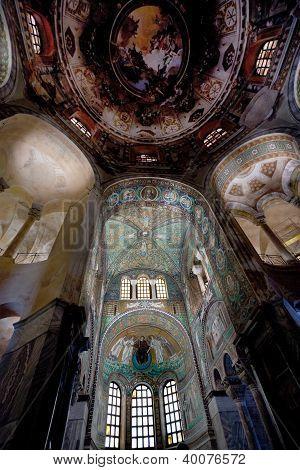 Green Ceiling Mosaic In Basilica San Vitale In Ravenna