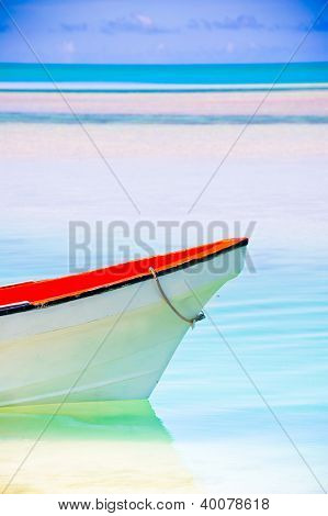 Beautiful Tropical Lagoon with boat in the foreground