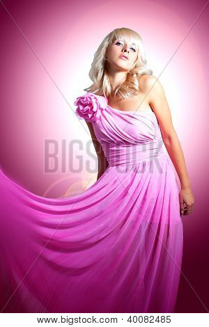 Beautiful Blonde In Pink With A Flower. Barbie Doll.