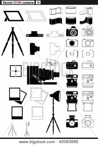 Vector set web icons. retro camera tripod