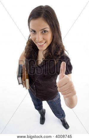 College Student Showing Thumb Up
