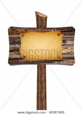 Blank Wooden Sign With Old Paper