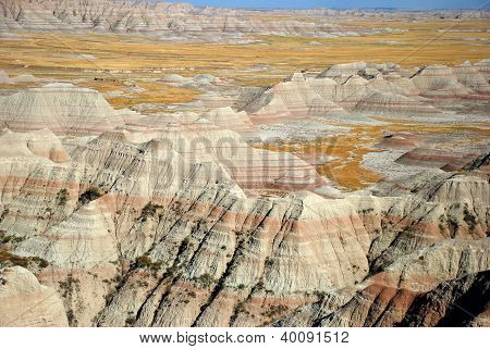 Striped colorful  hills, canyons, ravines of Badlands