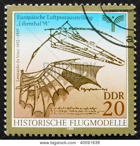 Postage Stamp Gdr 1990 Flying Machine By Leonardo Da Vinci