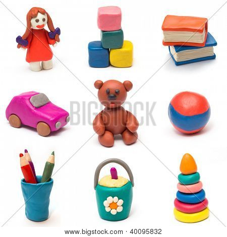 Set of children's toys molded from clay.