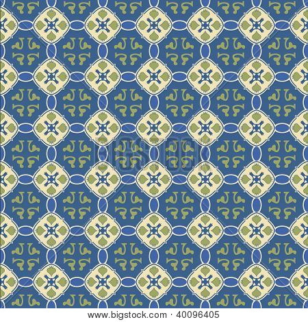 Seamless Talavera Tile Background With Antique Blue