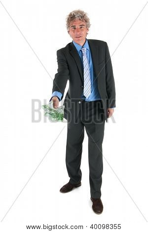 Business man is giving money