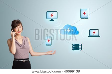 Beautiful young woman making phone call and presenting cloud computing network