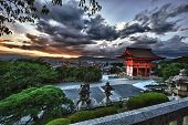 Beautiful dramatic sunset seen from the Kiyomizu-dera shrine above Kyoto, Japan. HDR
