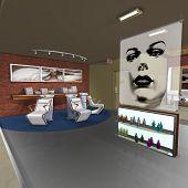 picture of beauty salon interior  - 3 D Render of an Hair Studio - JPG