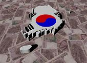 pic of won  - South Korea Map flag on Won illustration - JPG