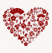 image of chinese new year 2013  - Chinese New Year of the Snake icon set heart composition background - JPG