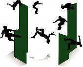 stock photo of parkour  - Silhouette of jumping young men and girl - JPG