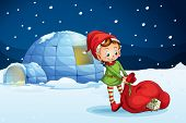 image of igloo  - illustration of an igloo and a boy in a nature - JPG