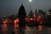stock photo of camphor  - Evening Aarthi Programme at Har-ki-Pauri on the banks of river Ganga Haridwar Uttarakhand State India