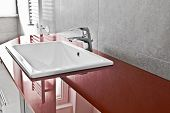 image of lavabo  - Bathroom red lavabo board with translucent surface - JPG